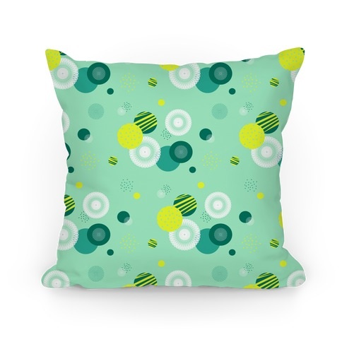 Seafoam Radials and Circles Pattern Pillow