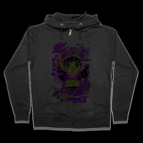 Neon Anime Space Cadet Zip Hoodie