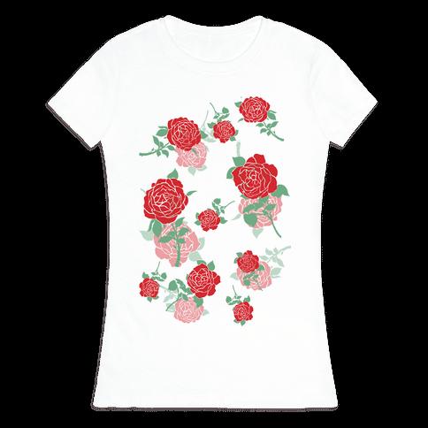 Falling Roses Womens T-Shirt