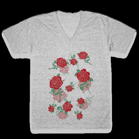 Falling Roses V-Neck Tee Shirt