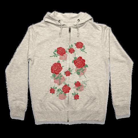 Falling Roses Zip Hoodie