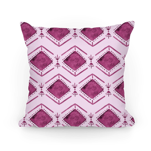 Pink Watercolor Tribal Pattern Pillow