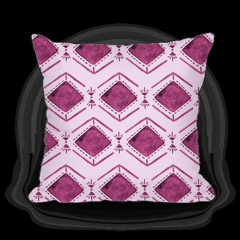 Pink Watercolor Tribal Pattern Pillow