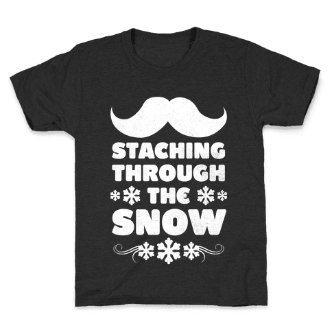 Staching Through the Snow (White Ink) Kids T-Shirt