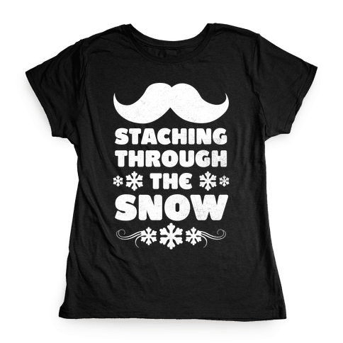 Staching Through the Snow (White Ink) Womens T-Shirt