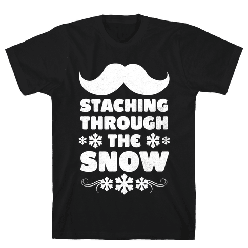 Staching Through the Snow (White Ink) Mens T-Shirt