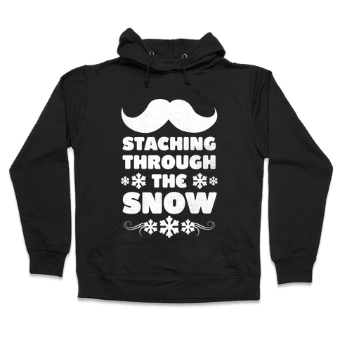 Staching Through the Snow (White Ink) Hooded Sweatshirt