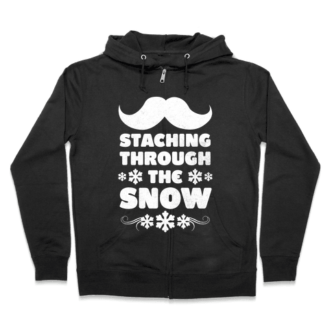 Staching Through the Snow (White Ink) Zip Hoodie