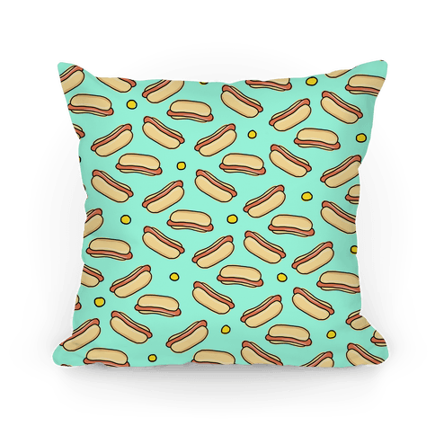 Teal Hot Dog Pattern Pillow