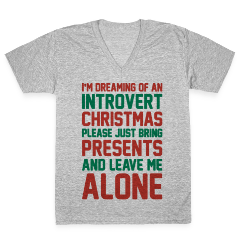 I'm Dreaming Of An Introvert Christmas V-Neck Tee Shirt