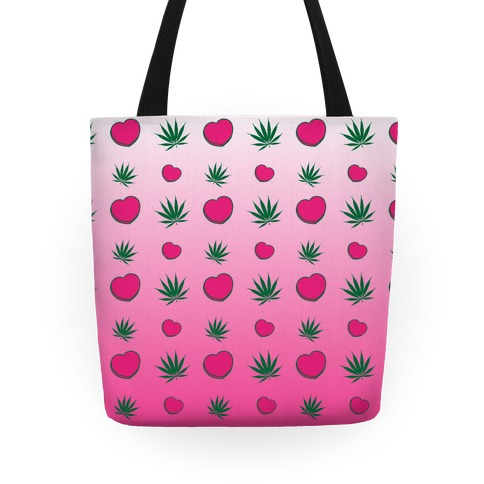 Weed and Hearts Pink Ombre Pattern Tote