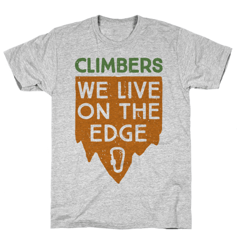 Climbers Live On The Edge (vintage) Mens T-Shirt