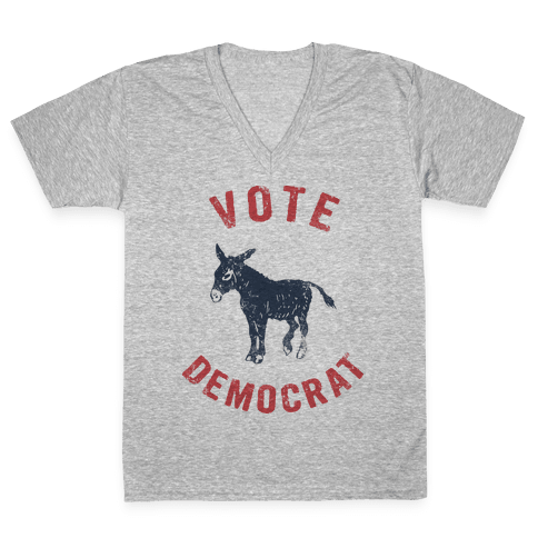 Vote Democrat (Vintage democratic donkey) V-Neck Tee Shirt