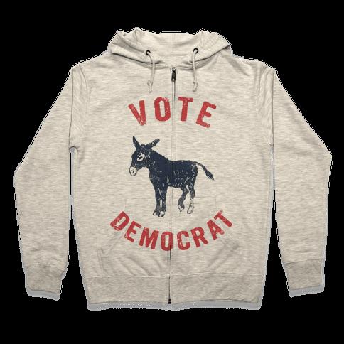 Vote Democrat (Vintage democratic donkey) Zip Hoodie