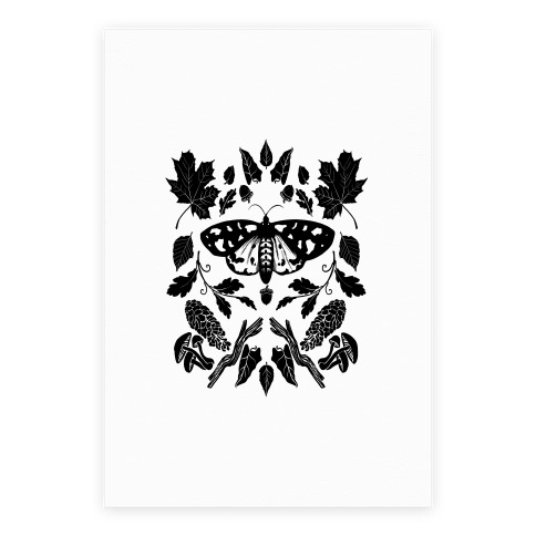 Black & White Woodland Moth Poster