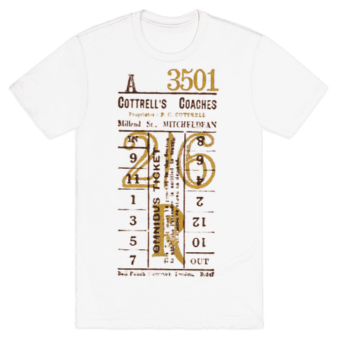 Vintage Punch Ticket Mens T-Shirt