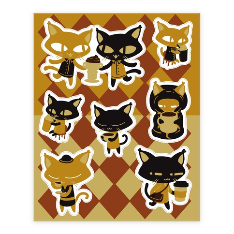 Coffee Cats Sticker/Decal Sheet