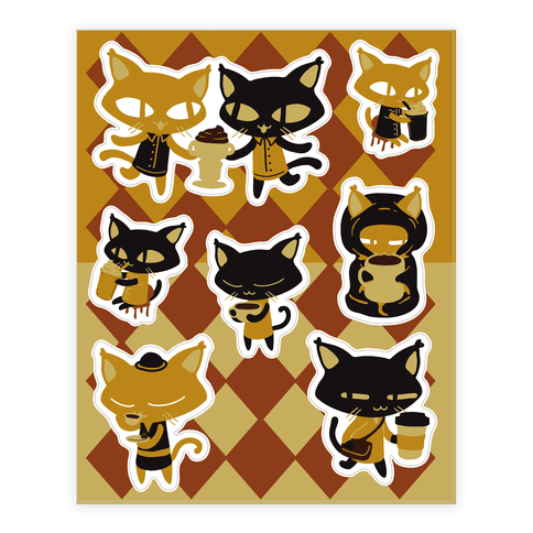 Coffee Cats Sticker/Decal Sheet