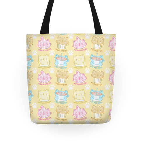 Cute Cat Snacks Pattern Tote