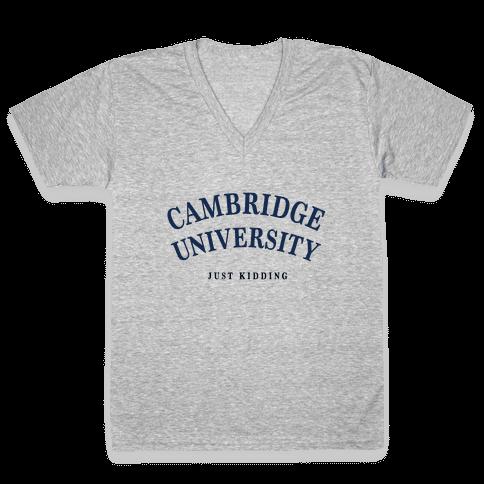 Cambridge (Just Kidding) V-Neck Tee Shirt