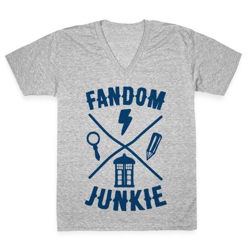 Fandom Junkie V-Neck Tee Shirt