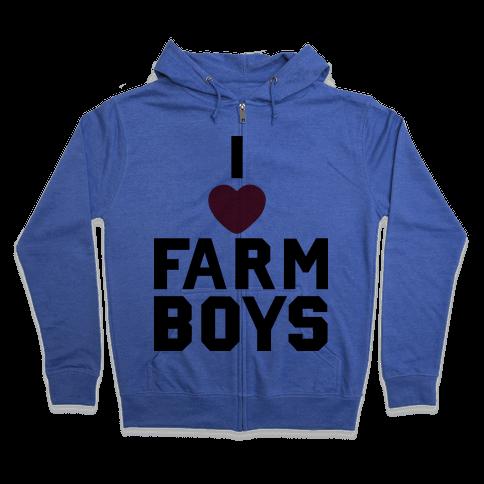 I Love Farm Boys Zip Hoodie