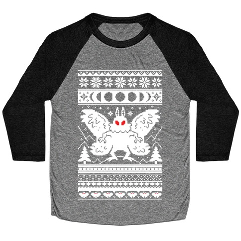 Mothman Ugly Sweater Pattern Baseball Tee