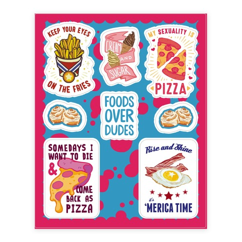 Lazy Food Sticker and Decal Sheet