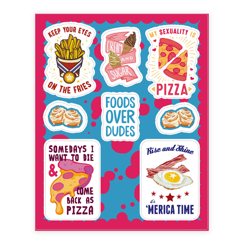 Lazy Food  Sticker/Decal Sheet