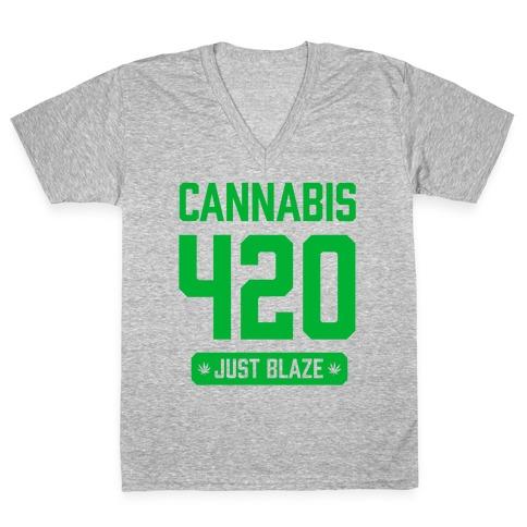Cannabis 420 Varsity V-Neck Tee Shirt