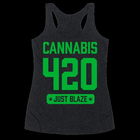 Cannabis 420 Varsity Racerback Tank Top