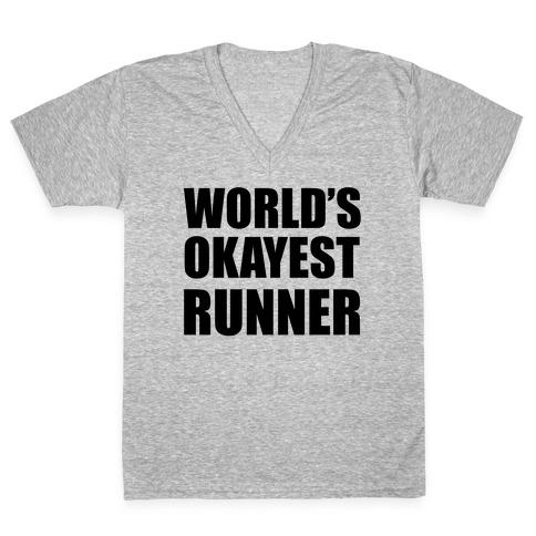 World's Okayest Runner V-Neck Tee Shirt