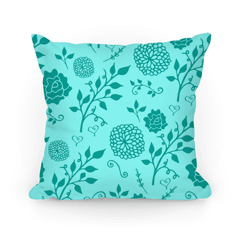 Teal Whimsical Floral Pattern