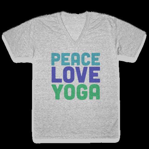 Peace Love Yoga V-Neck Tee Shirt