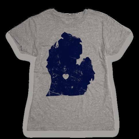 Michigan Heart Womens T-Shirt