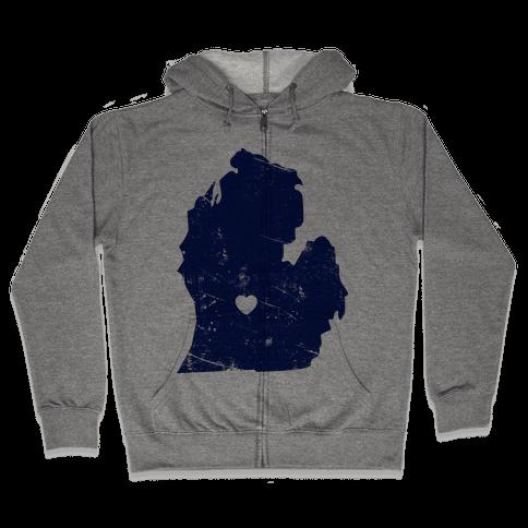 Michigan Heart Zip Hoodie