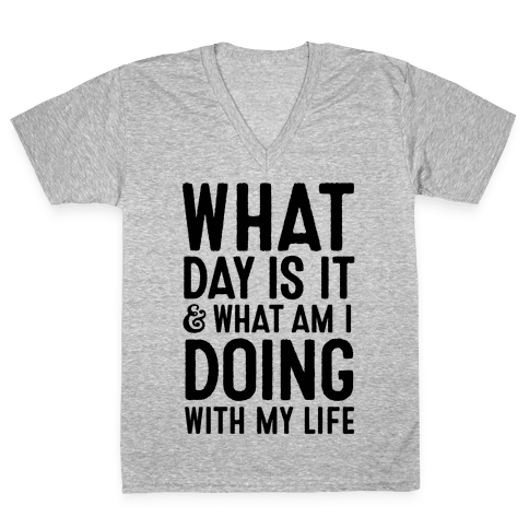 What Day Is It & What Am I Doing With My Life V-Neck Tee Shirt