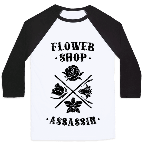 Flower Shop Assassin (Vintage) Baseball Tee