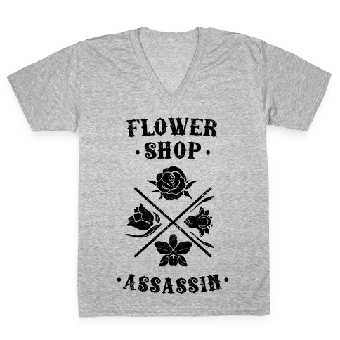 Flower Shop Assassin (Vintage) V-Neck Tee Shirt
