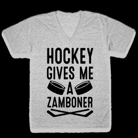 Hockey Gives Me A Zamboner V-Neck Tee Shirt