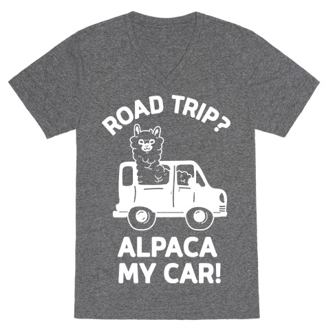 Road Trip? Alpaca My Car! V-Neck Tee Shirt