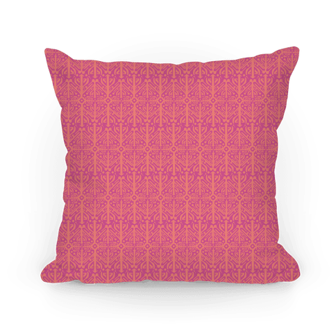 Pink Medieval Pattern Pillow