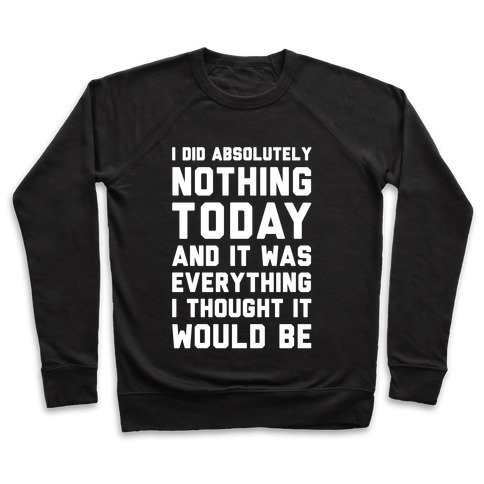 I Did Absolutely Nothing Today Pullover