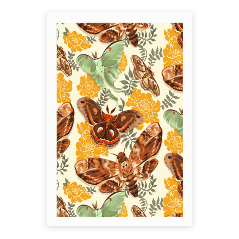 Moths & Marigolds Poster
