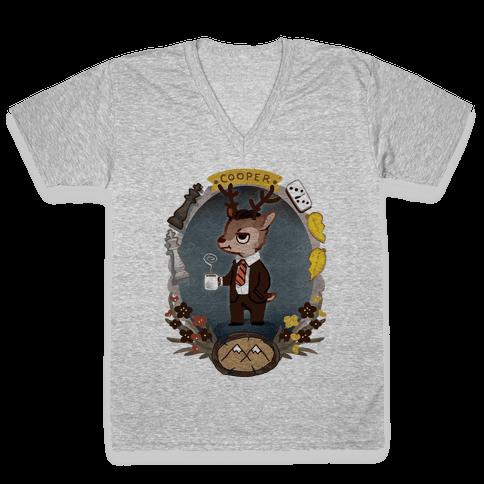 Agent Cooper Deer V-Neck Tee Shirt