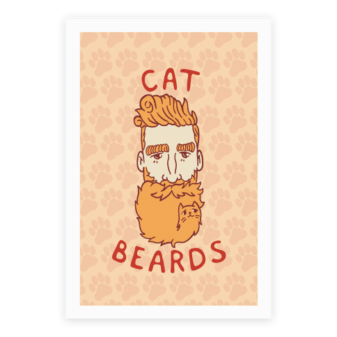 Ginger Cat Beards Poster