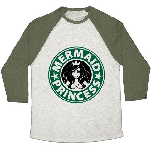 Mermaid Princess Coffee Baseball Tee