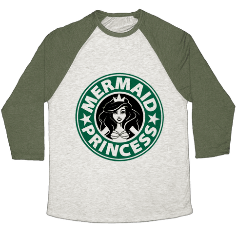Mermaid Princess Coffee Baseball Tee