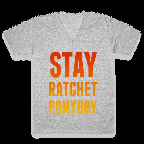 Stay Ratchet Ponyboy V-Neck Tee Shirt