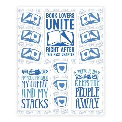 Book Lovers Unite Sticker and Decal Sheet